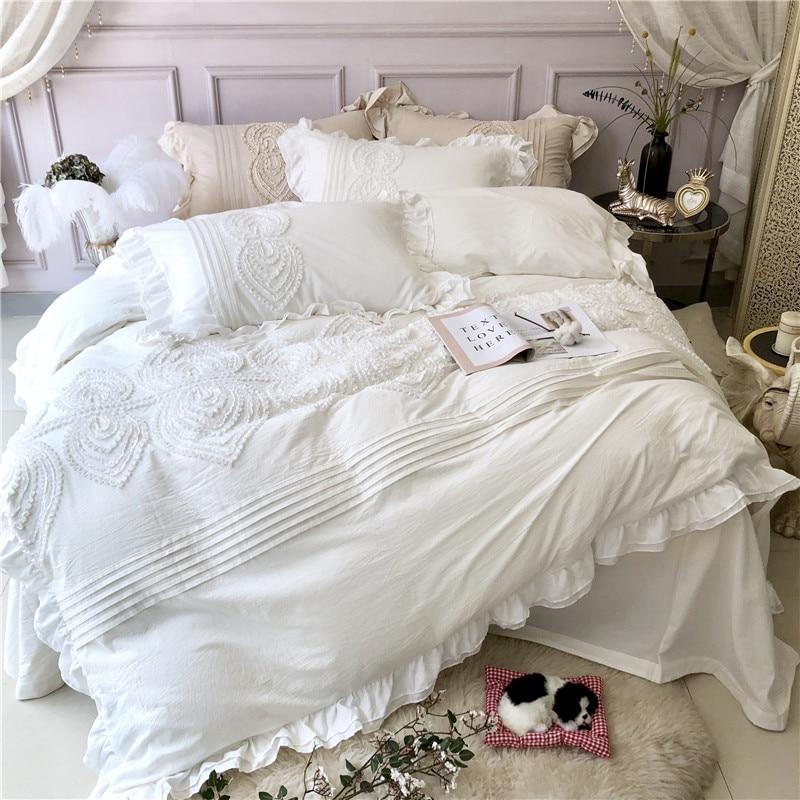 Blanc Gris Vert Clair Rose de luxe Princesse Stéréo Broderie coton Égyptien ensemble De Literie Housse de couette drap Taies D'oreiller 4 pcs