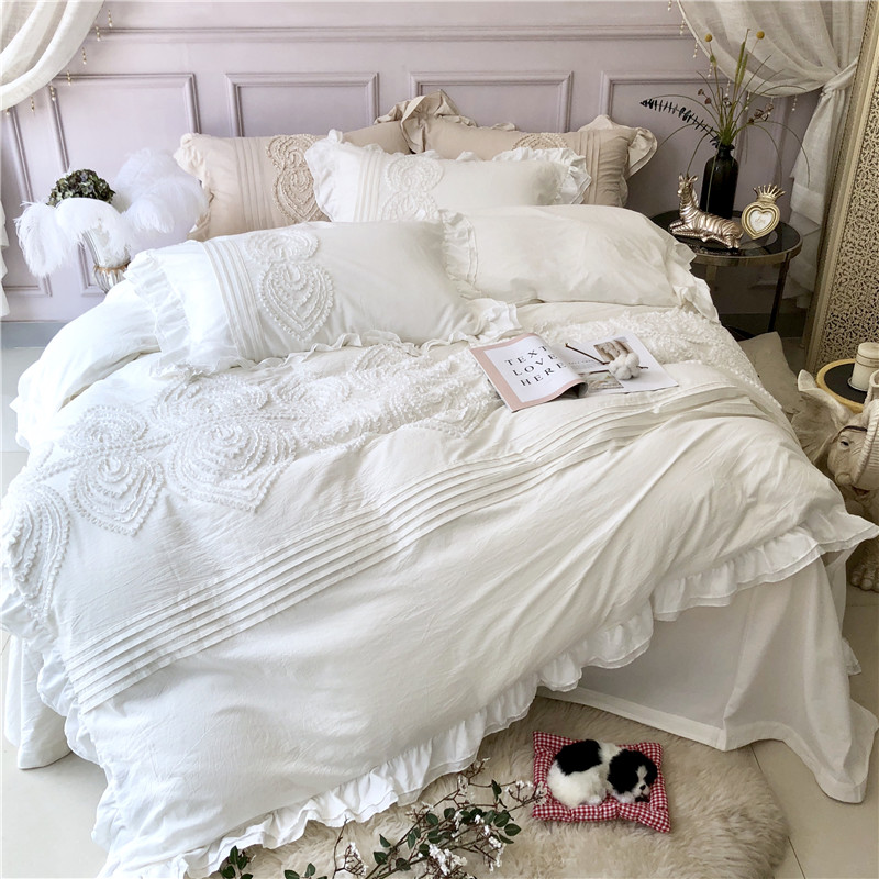 Us 117 2 35 Off White Gray Light Green Pink Luxury Princess Stereo Embroidery Egyptian Cotton Bedding Set Duvet Cover Bed Sheet Pillowcases 4pcs In