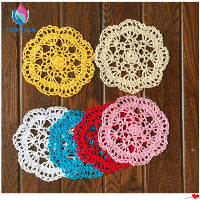 zakka fashion 30pic14cm round lace knitted cup pads tablemat crochet doilies for tea table