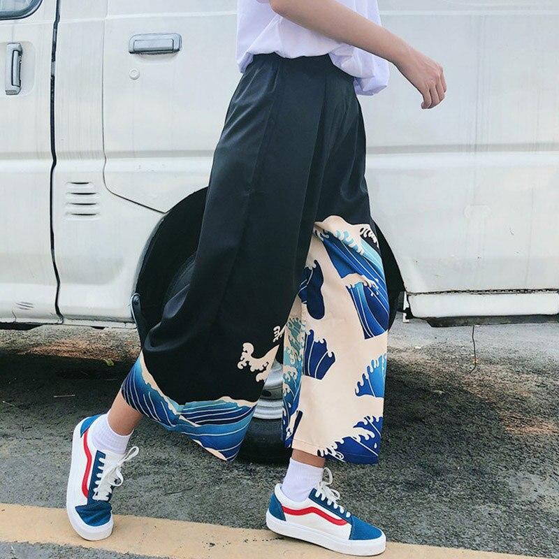 Wave Harajuku Printing Wide Leg   Pants   Women Summer Beach Loose Waist Trousers Chic Streetwear Casual   Pants     Capris   Female