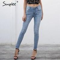 Simplee Blue Pearl Denim завышенной талией джинсы Женщины Бисер кисточки узкие джинсы уличной Штаны 2018 весна карман джинсов Femme