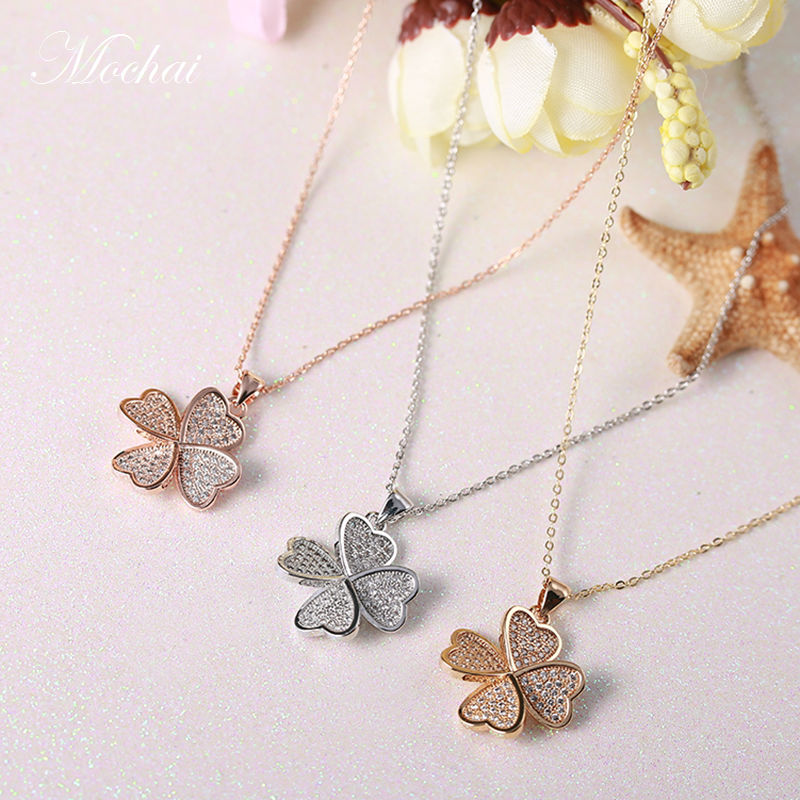 Korean Elegant Cute 3D Four Leaf Flower Short font b Necklace b font Micro Pave Setting
