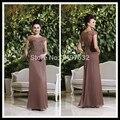 Gogeous Plus Size Mãe dos Vestidos de Noiva da Luva do Tampão Beading Brown Chiffon Vestidos de Festa À Noite Vestidos Longos Para Casamentos