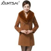 Plus Size L-5XL 2016 Winter Fashion Women New Coat Long sleeve Medium-length Wool Coat Slim Warm Woolen Coat Female