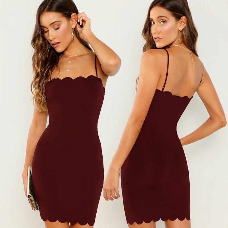 فستان صيفي قصير للنساء بلون سادة جديد بدون أكمام يصلح للحفلات المسائية والحفلات الليلية للنساء