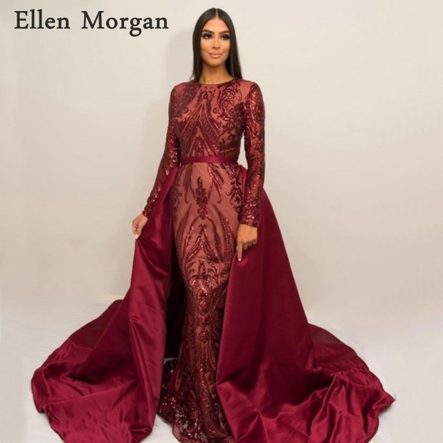 Burgundy Saudi Arabia Long Sleeves Mermaid Evening Dresses 2019 Dubai  Kaftan Moroccan Muslim Glitter Formal Prom Party Gowns 6a747d519174