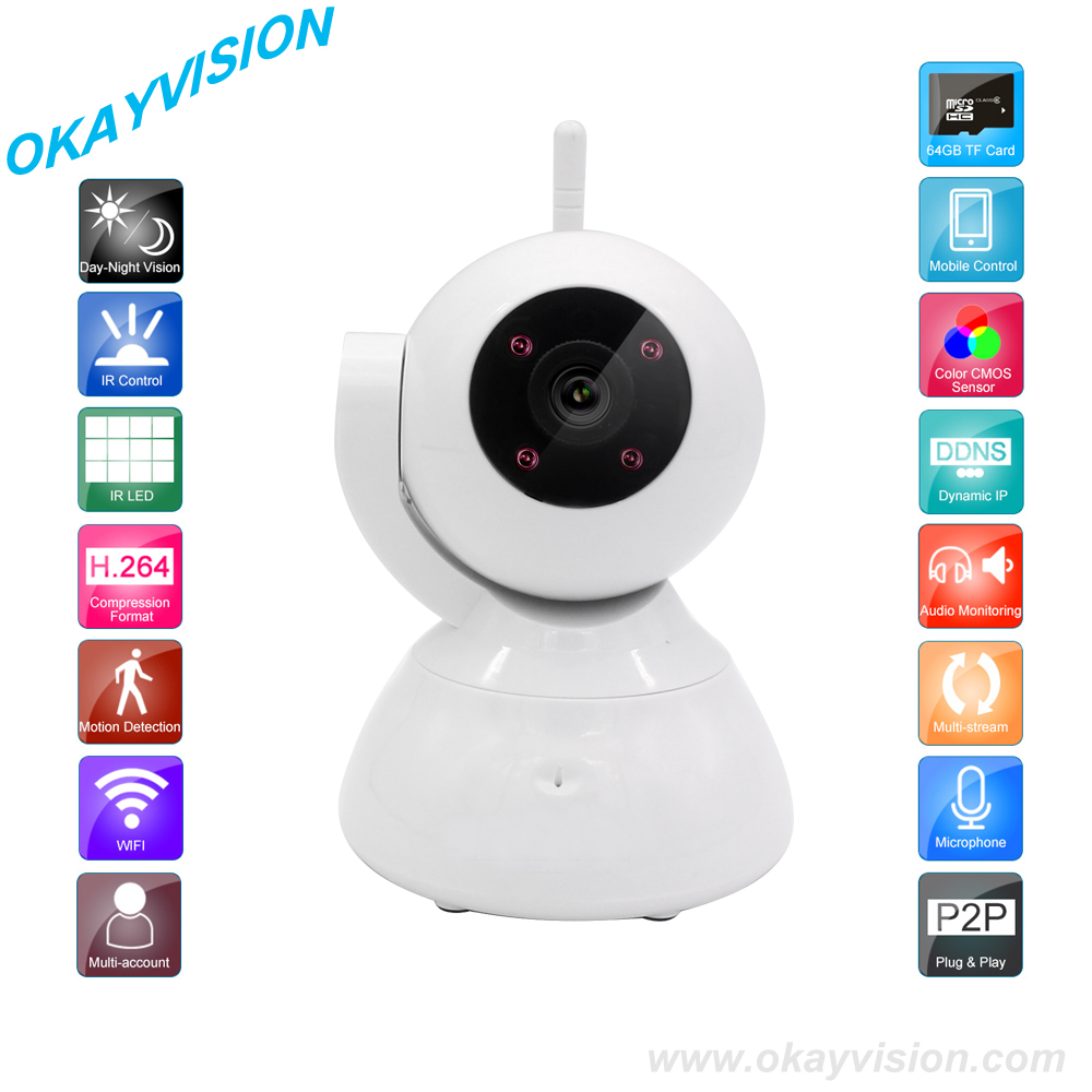 High Quality HD 720P Wireless IP Camera Wifi Night Vision Smart P2P Baby Monitor Network CCTV Security Camera Onvif IP Camera 720p hd wifi camera p2p wireless baby monitor security camera cloud storage night vision camera compatible with sensor detector