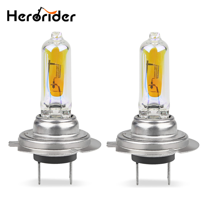 Herorider 2pcs H7 Halogen Bulb 2300k Super Bright Yellow Golden H7 12V 55W Car Headlight Halogen Car Fog Lights