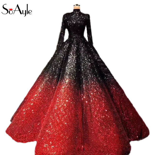 SoAyle Gorgeous Colorful Lush Ball Gowns 2018 Saudi Arabic Prom Gowns High  Collar Full Sleeves vestido de noiva Longo abiye H 0bc2280b41f6