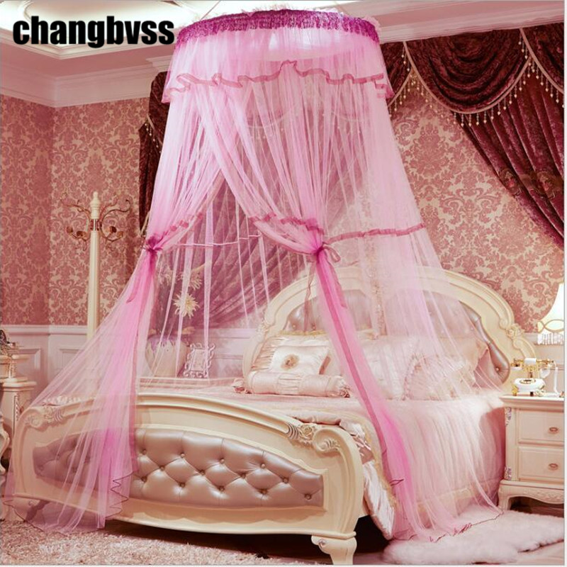 Elegant Round Lace Curtain Hung Dome Mosquito Net Bed Netting Canopy Adults Mosquito Nets Tent for