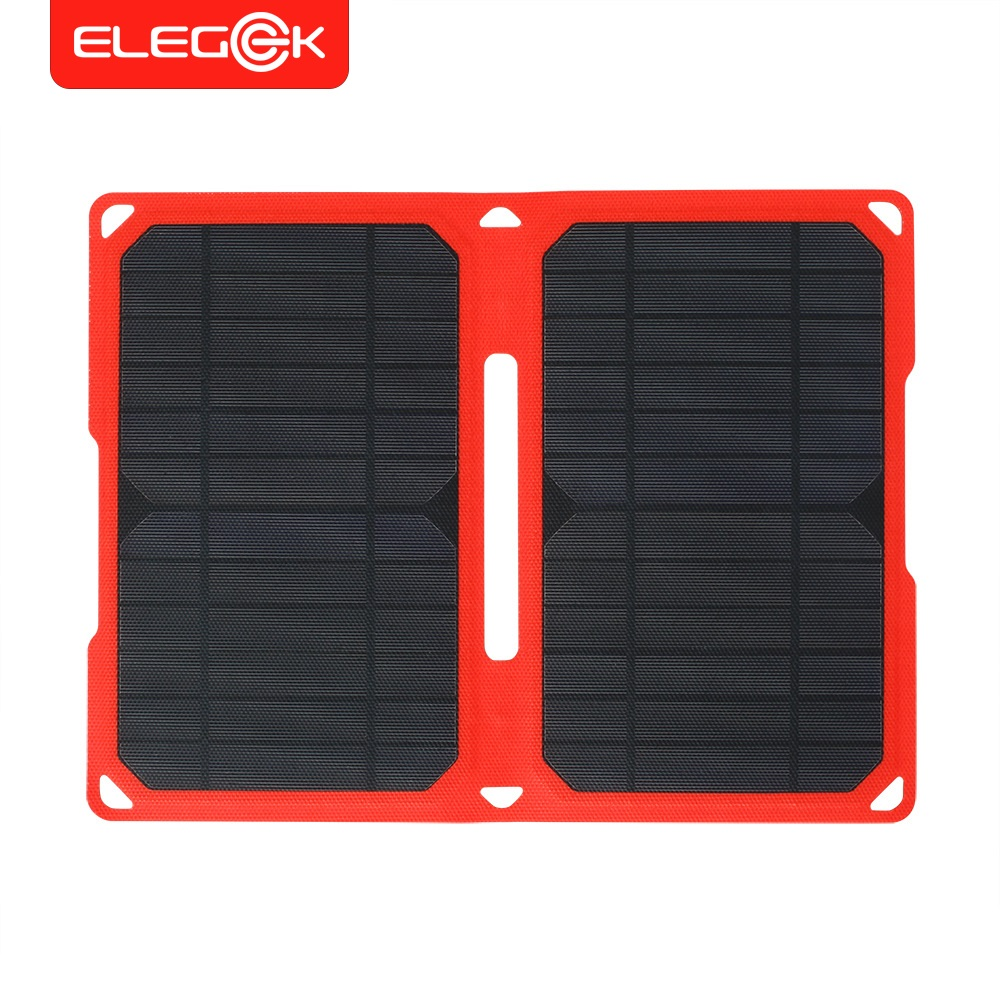 ELEGEEK 14W Super Slim ETFE Laminated Folding Solar Panel Charger Waterproof IPX5 Portable Solar Panel for IOS and Android