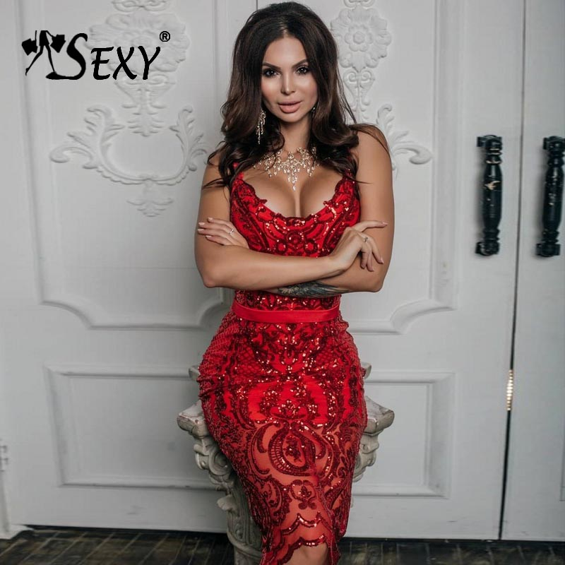Gosexy 2019 New Women Sexy Red Bandage Dress Sheath Sleeveless Spaghetti Strap Sequins Dress Knee Length