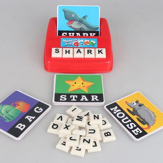 Niños montessori letras alfabeto juego inglés tarjetas de flash máquina de aprendizaje palabras educativos tarjetas juguetes para niños