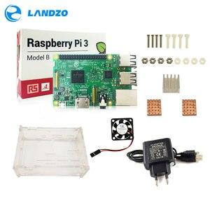 Image 2 - D Raspberry Pi 3 Model B starter kit pi 3 board / pi 3 case /EU power plug/with logo Heatsinks pi3 b/pi 3b with wifi & bluetooth