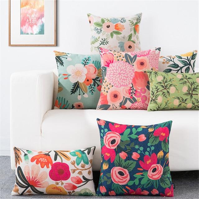 رمي وسادة غطاء الوسادة زهرة مصنع مكتب قطني وسادة وسادة أريكة كيس وسادة غطاء لغرفة المعيشة الديكور