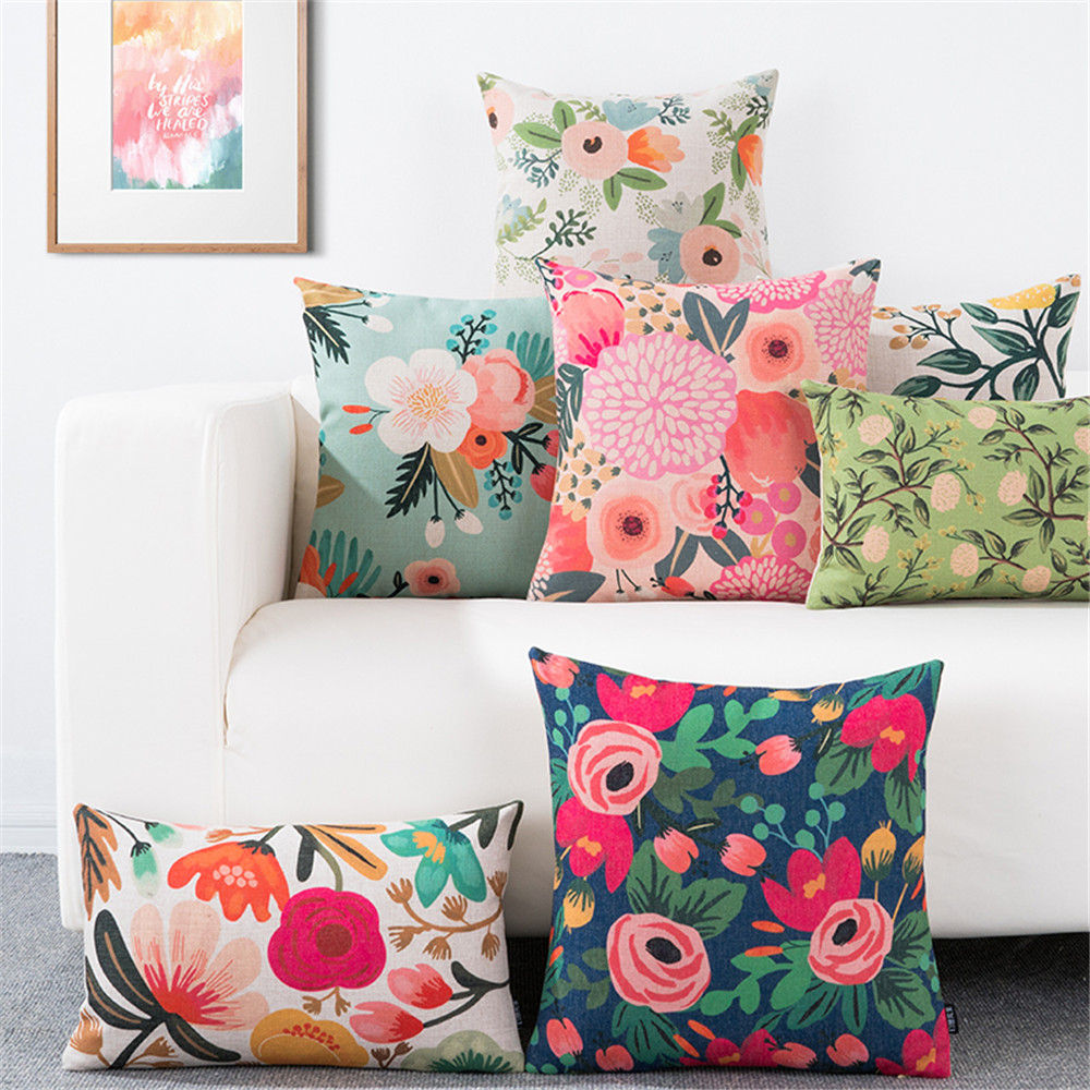 Throw pillow cushion cover flower plant office lumbar pillow sofa cushion pillow case cover for living