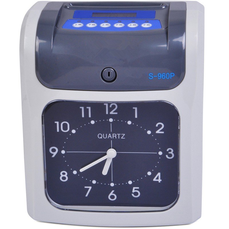 LCD attendance machine punch clock two-color printing clock face attendance English version of British plugs Backup battery