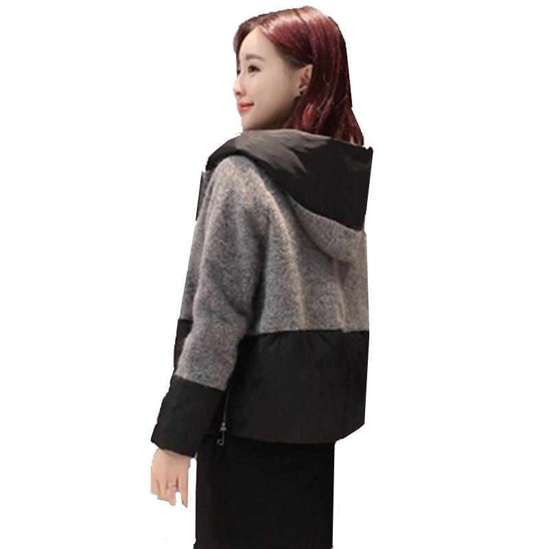 Et Mode Paragraphe Femelle D'hiver 2017 red Hit Black Couleur Nouvelle Laine Veste Coton Vêtements Automne Couture Court De Capot fq5q16