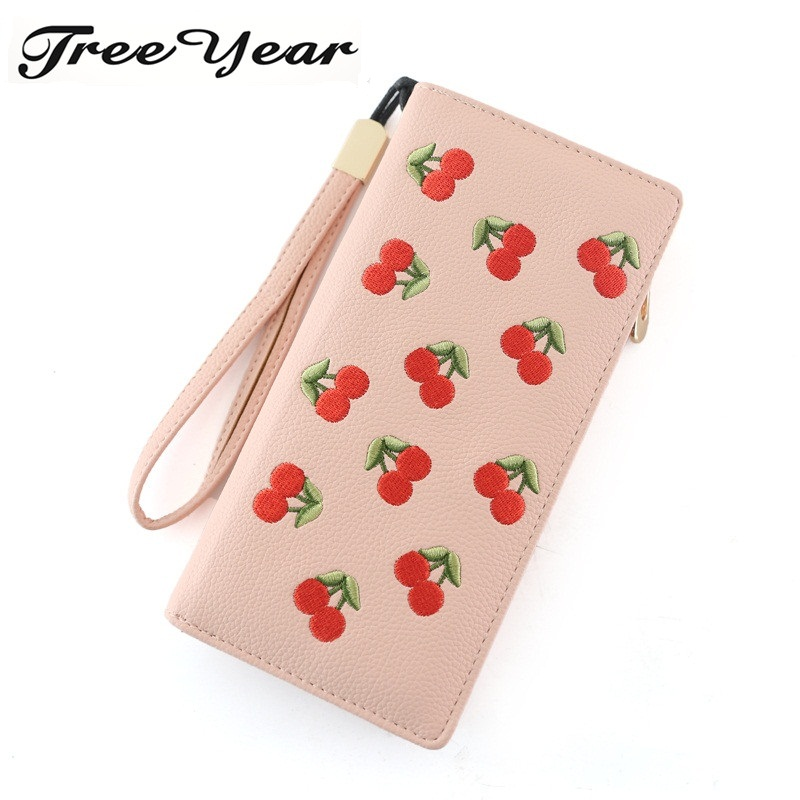 TreeYear Fashion Elegant Long Zipper Women Purse Wristband Female Purse Soft Pu Leather Phone Wallet Bag Patchwork Women Wallet