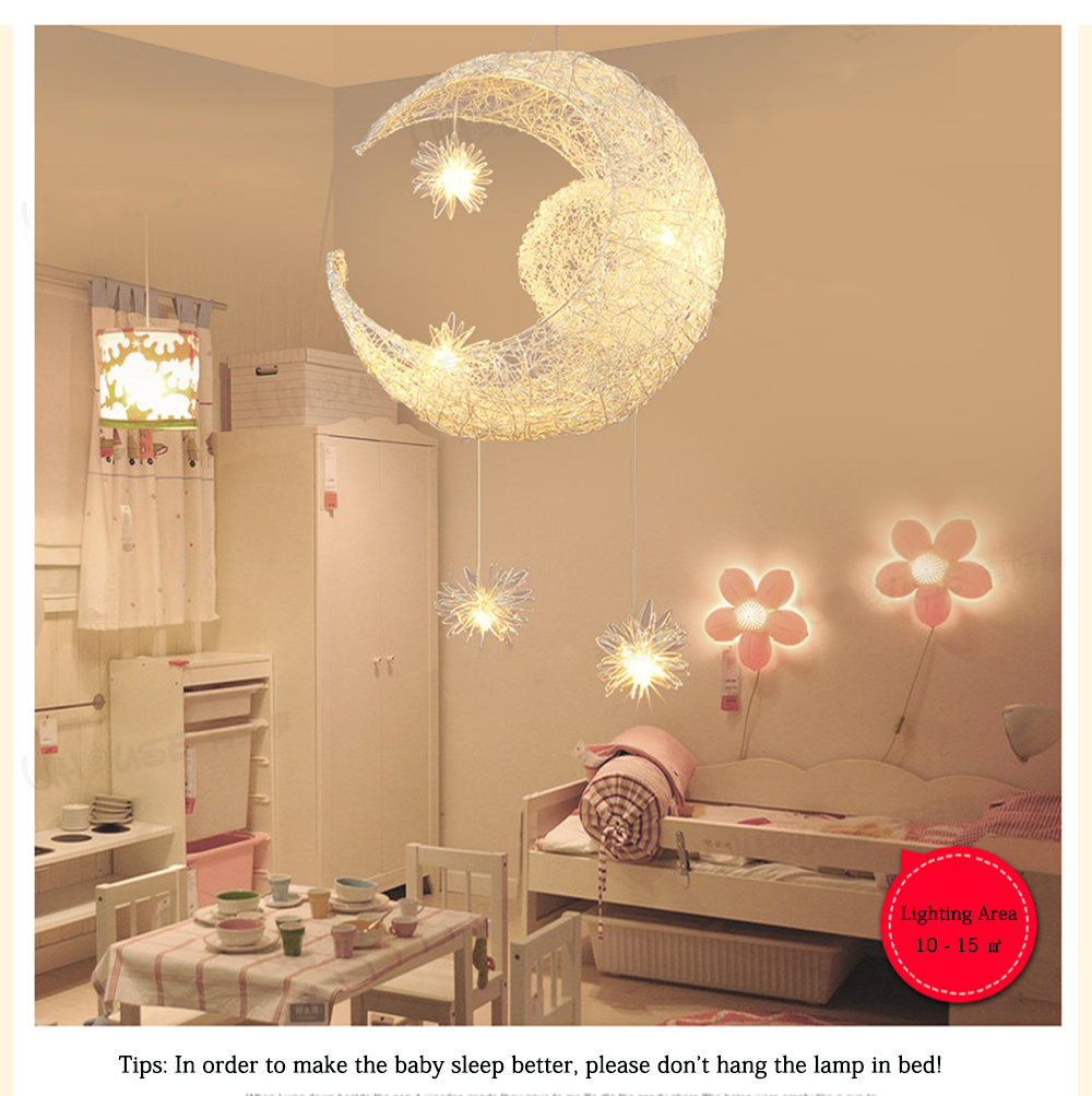 2016 Baby Kid's Room Lighting Modern Moon&Star Pendant Lights Child Bedroom Lamps Aluminum Living Room Home Decoration 110/220V