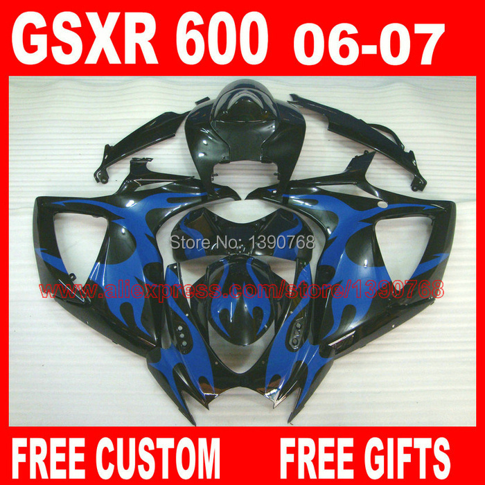<font><b>Fairings</b></font> set for SUZUKI <font><b>GSXR</b></font> <font><b>600</b></font> 750 2006 <font><b>2007</b></font> plastic bodywork K6 gsxr600 06 GSXR750 07 blue flames in black <font><b>fairing</b></font> <font><b>kit</b></font> HV28 image
