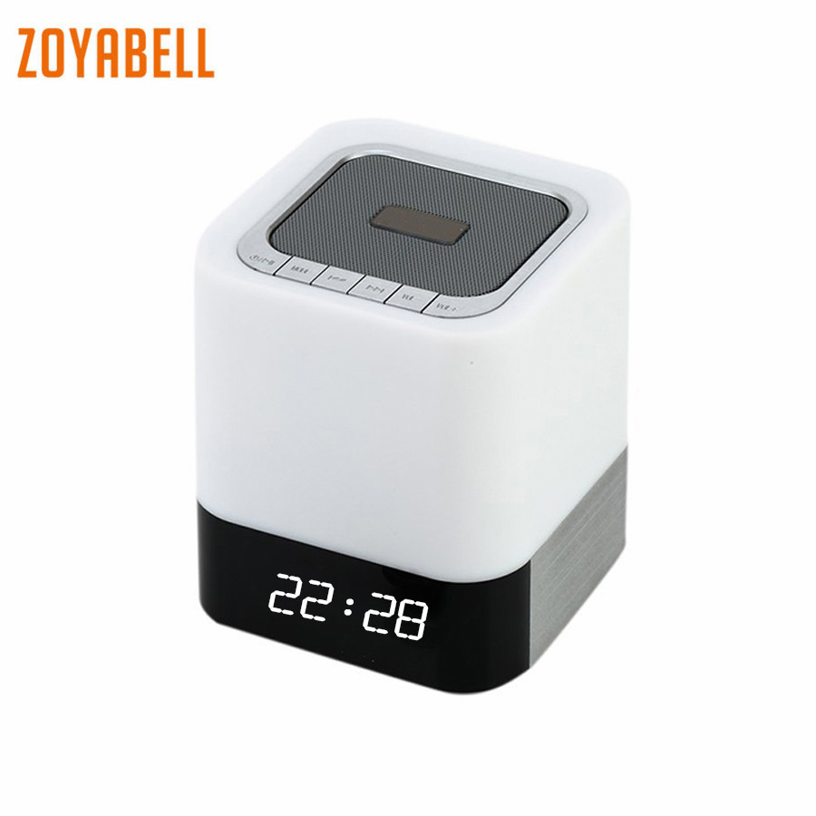 zoyabell Led Night Light Lamp Clock Music Speaker TF Card Bluetooth Battery Table Portable Baby Kids Bedroom Sleeping Light цена
