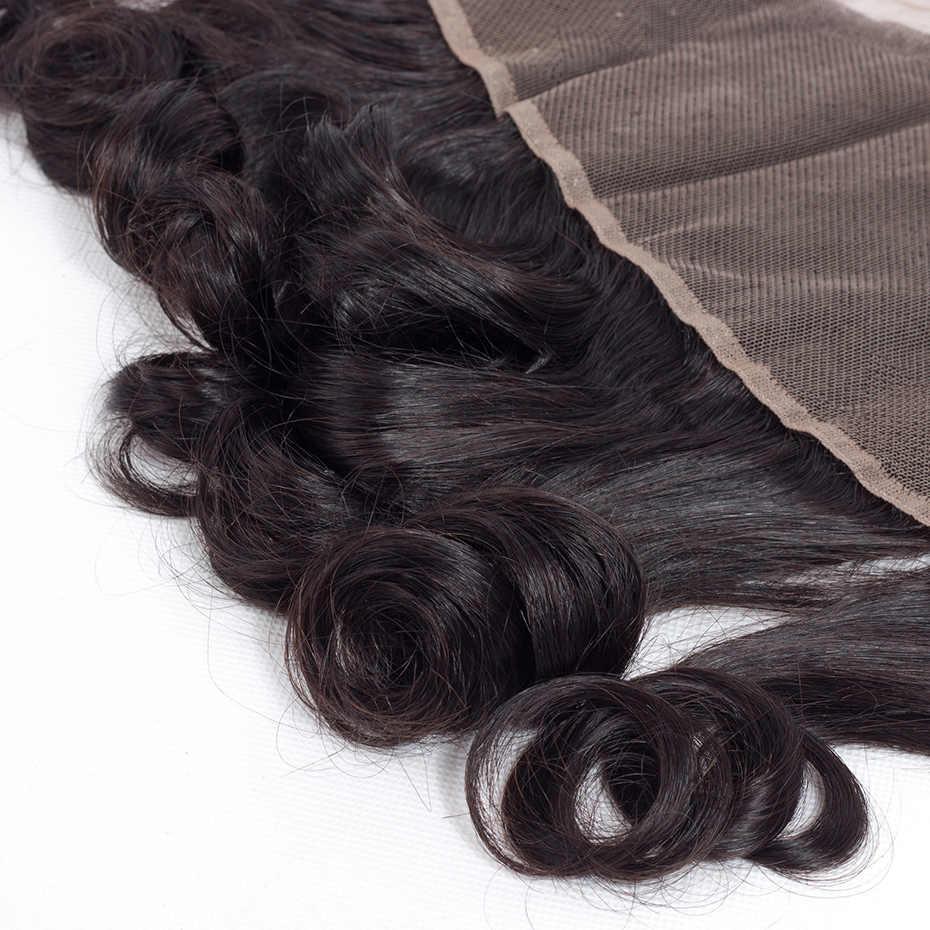 Габриель волосы 13x4 бразильские Свободные Волнистые Кружева Фронтальная Закрытие бесплатная часть 8-22 дюймов натуральный цвет не Реми человеческие волосы