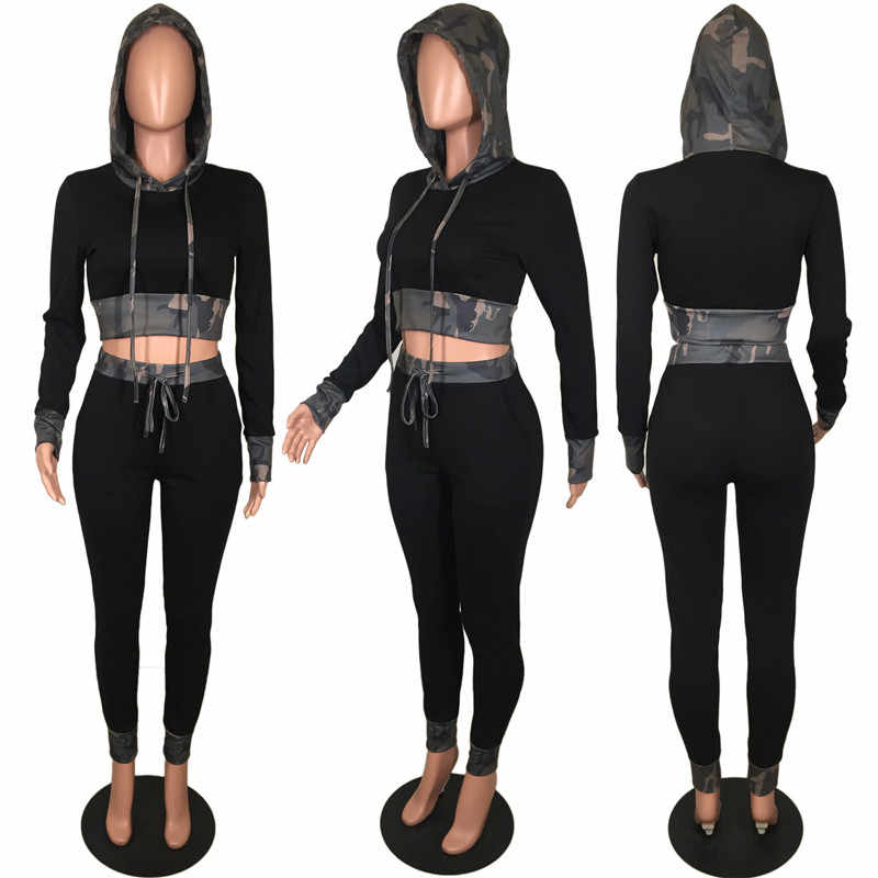 a6280037d7 Women's Tracksuits 2 Piece Set Hooded Long Sleeve Crop Top and Bottoms  Camouflage Stylish Jogger Outfits Womens Sweat Suits Sets