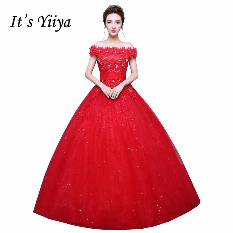 Flowers Boat Neck Sequins 2017 Design Wedding Dresses Cheap Red White Princess Bride Frocks Custom Made Vestidos De Novia XXN159