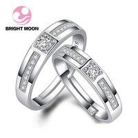 ירח בהיר מתכוונן טבעות זוג כסף סטרלינג 925 & cz טבעת נישואים מתנות תכשיטי נקבה הסיטונאי קידום drop