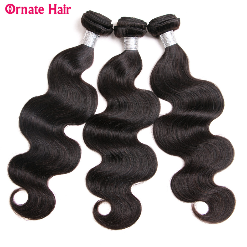 Ornate Brazillian Body Wave Bundles Non Remy Human Hair Extensions 3 Bundle Deals Weave Bundles 10