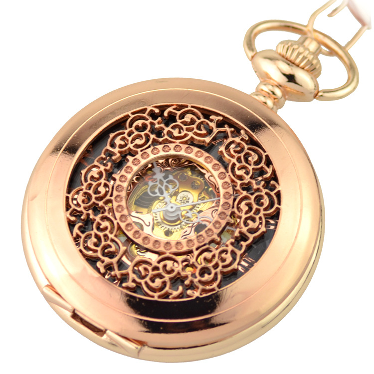 Rose Gold Luxury Skeleton Pocket Watch Mechanical Hand Wind Pocket & Fob Watches Women's Pendant relogio de bolso Floral Design 63 rose de mai