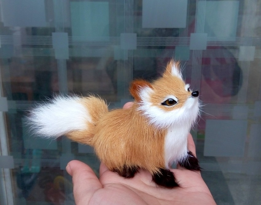 small simulation fox toy mini squatting fox model home decoration wedding birthday gift about 12x7cm t0001 simulation animal large 28x26cm brown fox model lifelike squatting fox decoration gift t479