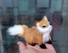 mini 12x7cm simulation brown fox toy polyethylene & furs squatting model home decoration birthday gift t056