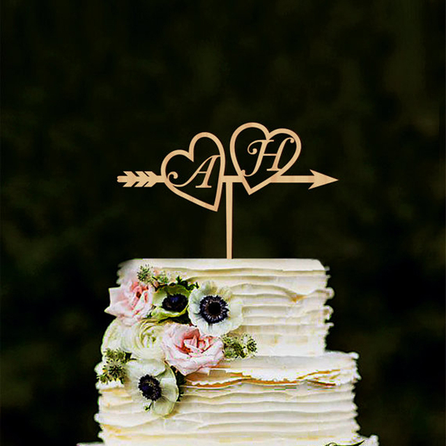 Monogram Wedding Cake Topper Wood Initials Gold Silver Custom Heart Arrow With