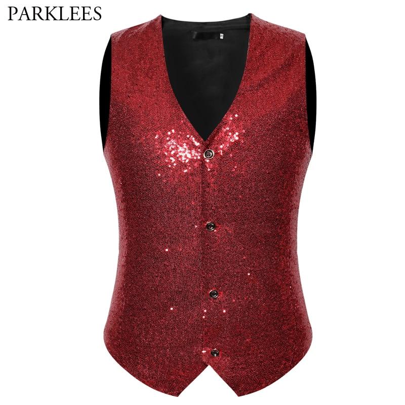 Shiny Red Sequin Tuxedo Vest Men Wedding Groom Singer Prom Slim Fit Glitter Vestcoat Mens DJ Club Stage Bar Singer Gilet Homme