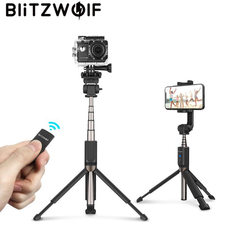 BlitzWolf bluetooth Selfie Vara Extensível Handheld Tripé Monopé para Gopro 5 6 7 1/4 'Sports Camera Para Smartphones Huawei
