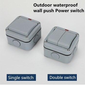 IP66  Outdoor Waterproof Dust-proof External Wall Switch 1 Gang Push Button Powe wall socket