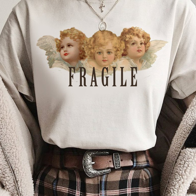 Vintage Fiorucci T-shirt Women Angels Thinking About You Funny Graphic Tees Tumblr Harajuku Tee Shirt Femme Oversized Tops