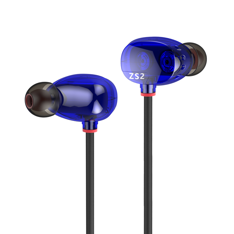 ФОТО KZ ZS2 Dual Dynamic Driver Headphones Noise Cancelling Stereo In-Ear Monitors HiFi Earphone With Microphone for Phone