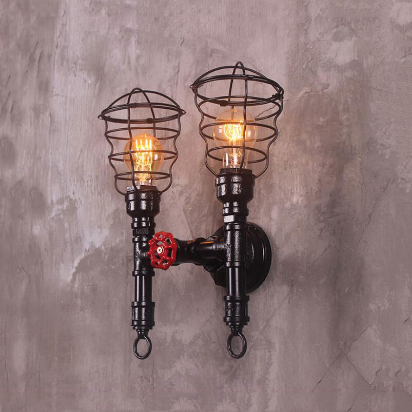 water pipe wall lamp loft iron painting light e27 light uniqueiron cage lighting fixture restaurant bar cafe aisle stair light|wall lamp|iron pipe lamp|pipe lamp - title=
