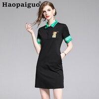 2019 Summer Brand Women Polo Dress T Shirt Short Sleeve Office Elegant Dresses Patchwork Female Casual Oversized 2XL Vestidos