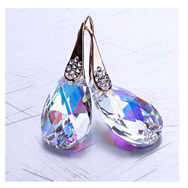 sterling silver jewelry Fashion Design Austrian Crystal Drops Swa Crystal Elements Silver Plated Earrings For Women
