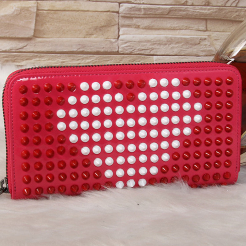 все цены на 2018 New Fashion Women Genuine Leather Bag Color Rivet Long Wallet Card Money Holder Clutch Purse Designer Wallets Phone Pocket