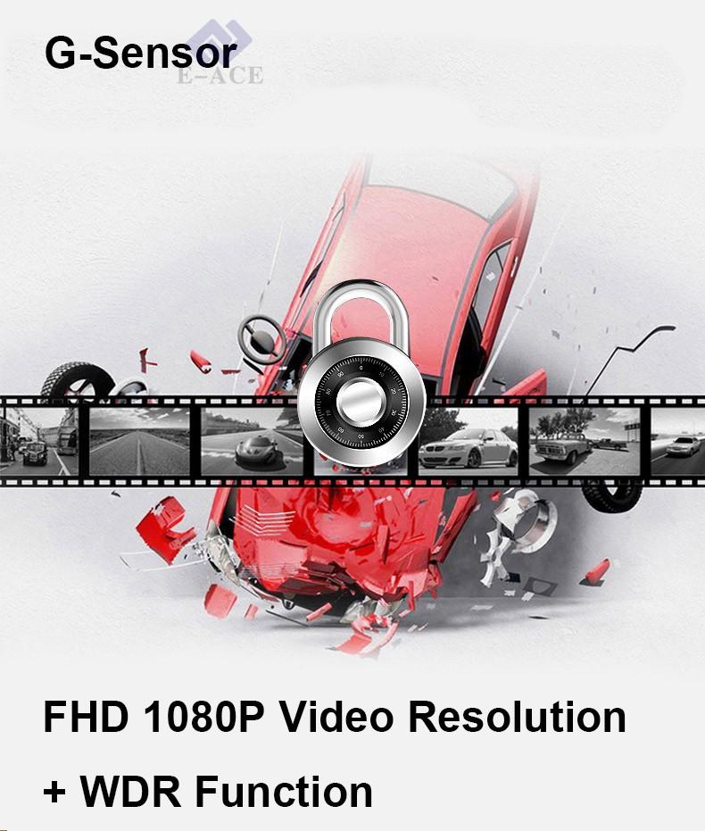 E-ACE Car Dvr WIFI DVRs Dual Camera Lens Registrator Dashcam Digital Video Recorder Camcorder Full HD 1080P 30FPS Night Version 13