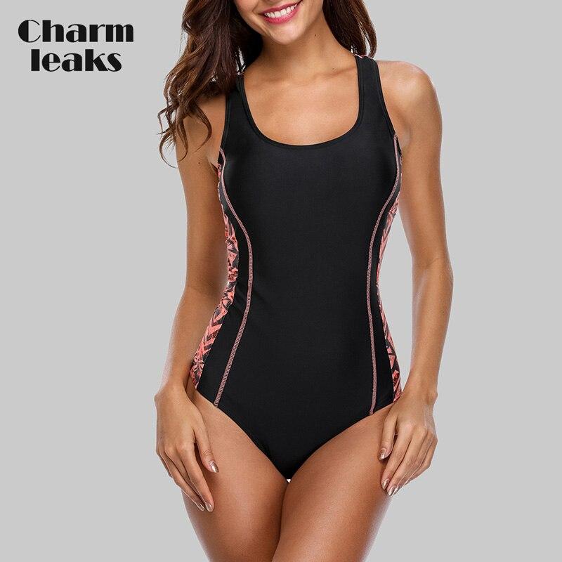 Charmleaks One Piece Women Sports Swimsuit Sports Swimwear Padded Bikini Backless Beach Wear Bathing Suits Monokini