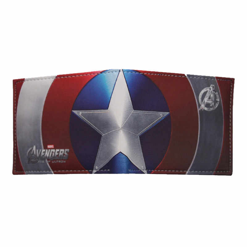 HUIMENG Comics Marvel Avengers Superhero Captain America Shield Faux Leather Bifold Wallet ID Cash Purse Gift For Children