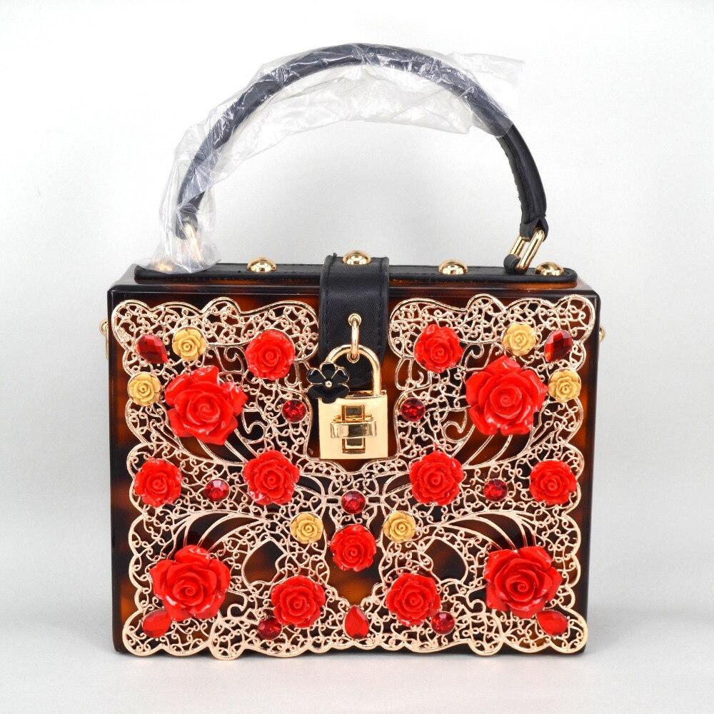 Leopardo marrón de oro ahueca hacia fuera las flores de acrílico de moda de lujo