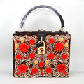 Luxury fashion golden brown leopard hollow out flowers acrylic ladies handbag Women shoulder bag Trunk Clutch Evening Bags Z8141