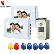 """YobangSecurity проводной видеодомофон домофон """" дюймовый ЖК-видео дверной звонок Домофон RFID Контроль доступа камера монитор система"""